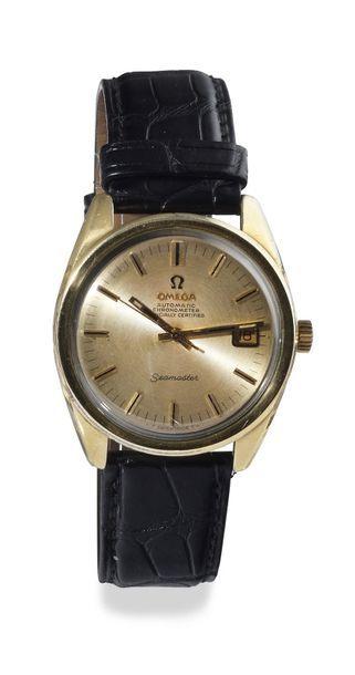 "OMEGA ""Seamaster chronometer"" around 1965 Gold-plated metal barrel case, smooth..."