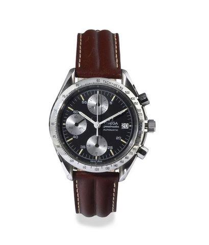 """OMEGA """"Speedmaster-Date"""" ref. 175.0043 around 1990 Steel chronograph, cushion case...."""