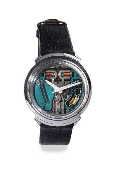 "BULOVA ""Spaceview Accutron"" ref. 1-227763 M4 around 1970 Stainless steel round case,..."