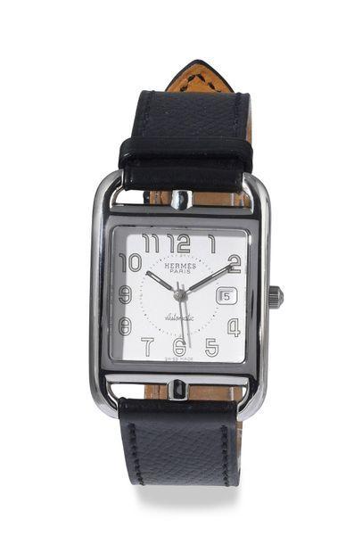 "HERMÈS Paris ""CAPE COD"" ref. CC 1.710, around 2005. Steel bracelet watch, large..."