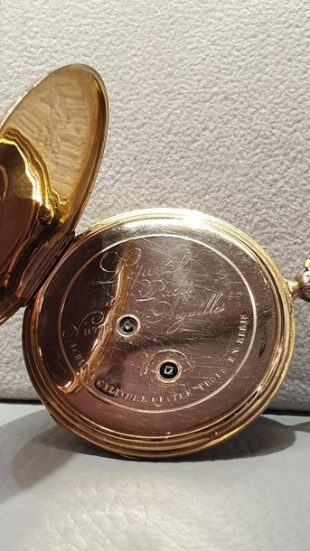 LEPINE in Paris, n°11273 around 1830 18k yellow gold pocket watch with black enamelled...