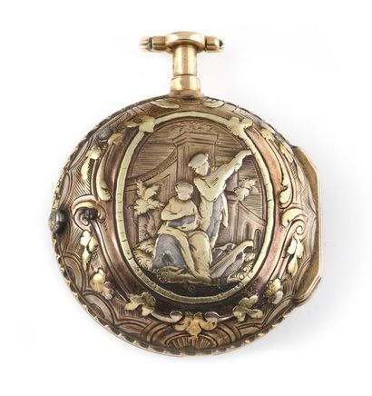 """Anonymous """"Onion"""" WATCH, late 18th century. Round case, two bodies in yellow, pink..."""