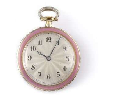 Yellow gold enamelled and ruby-set collar watch, circa 1900 18k yellow gold round...