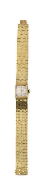 OMEGA, circa 1960 Lady's watch in 18k yellow gold, square case with striations on...