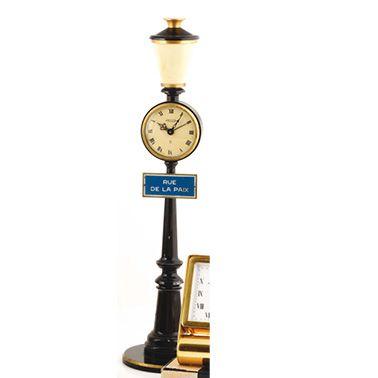 "JAEGER ""RUE DE LA PAIX"" around 1950 Gas burner desk clock in black and gold lacquered..."