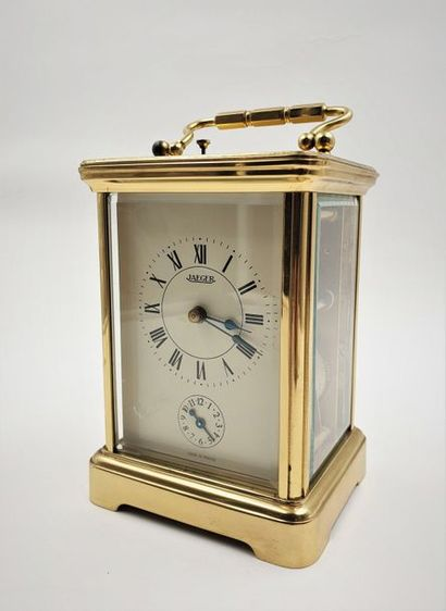 JAEGER, Officer's clock, around 1970 Rare travel clock with bell on demand, alarm...