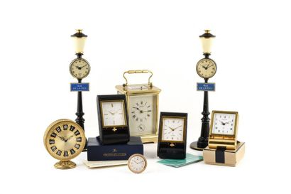 """JAEGER-LECOULTRE """"travel clock"""" circa 1960 Gold plated travel clock. White enamelled..."""