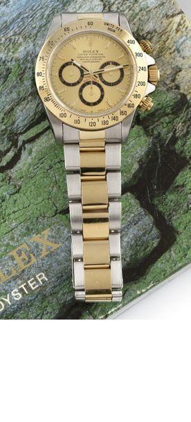 """ROLEX """" Cosmograph Daytona"""" ref. 16523 vers 1993 Montre chronographe en acier et..."""