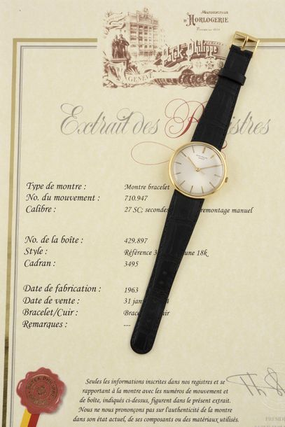 """PATEK PHILIPPE """" Discovolante"""" ref. 3495, 1963 Elégante montre bracelet en or jaune..."""