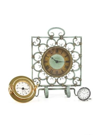 JAEGER LE COULTRE, around 1940 Square gilded brass and wrought iron clock with green...