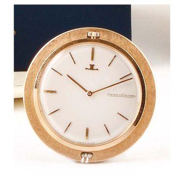 """JAEGER-LECOULTRE """"Round clock"""" ref.1911 around 1960 18k pink gold desk clock, round..."""