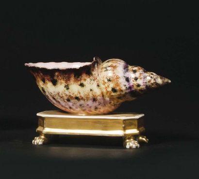 PARIS Encrier en porcelaine en forme de coquillage...
