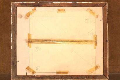 Géo HAM (1900-1972)  Simca 5 sur la corniche  Gouache portant le monogramme G.H...