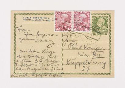 BERG (Alban). Carte autographe signée à Paul...