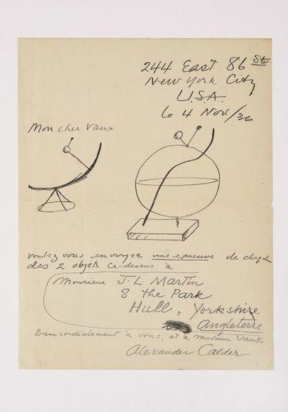 CALDER (Alexander). Lettre autographe signée...