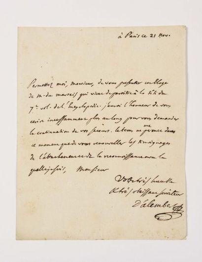 ALEMBERT ( Jean Le Rond d'). Lettre autographe...