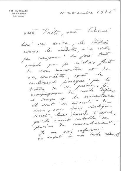 CHAR (René). Lettre autographe signée à une...