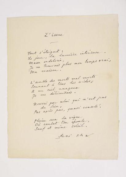 CHAR (René). Poème autographe signé, intitulé...