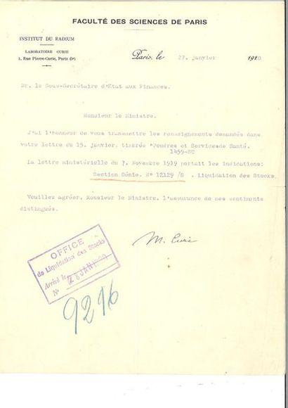 CURIE (Marie). Lettre signée à Emmanuel Brousse....