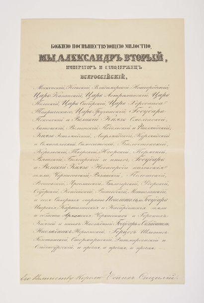 ALEXANDRE II DE RUSSIE. Lettre signée, contresignée...