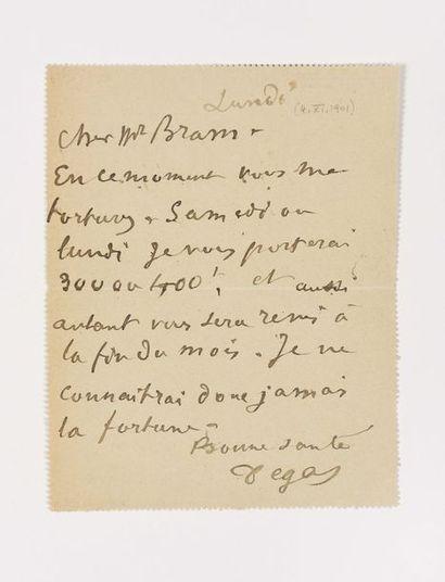 DEGAS (Edgar). Carte autographe signée au...