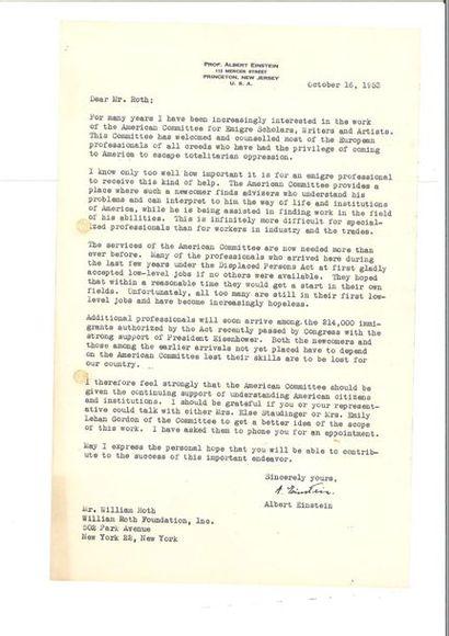 EINSTEIN (Albert). Lettre signée à William...