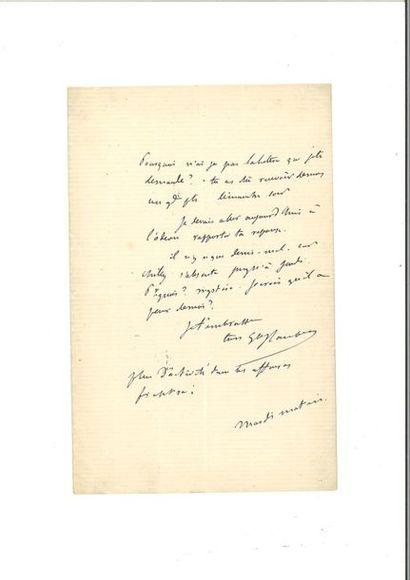 FLAUBERT (Gustave). Lettre autographe signée [à Philippe Leparfait]. S.l., « mardi...