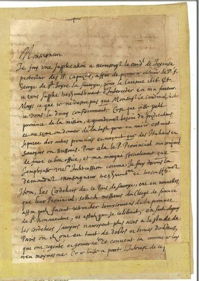 FRANÇOIS DE SALES. Lettre autographe signée...