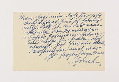 FREUD (Sigmund). Carte autographe signée...