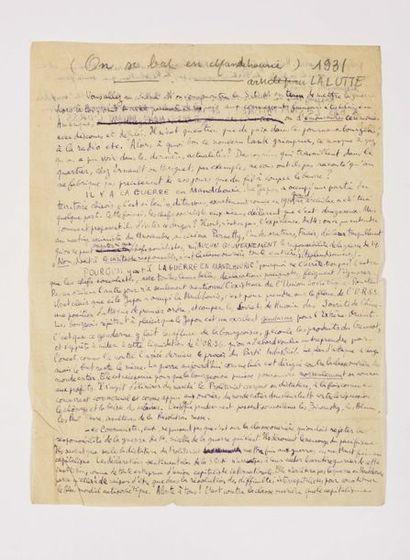 ARAGON (Louis). Manuscrit autographe (1 p....