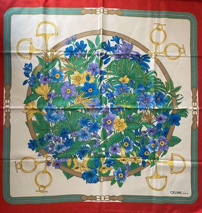 CELINE Carré en soie imprimée à motif florales...