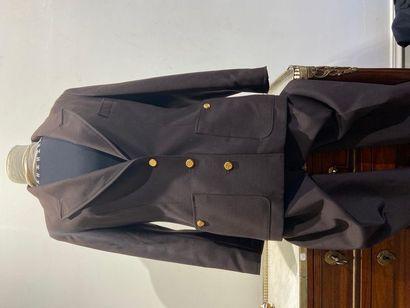 CHANEL Tailleur pantalon en coton maron,...