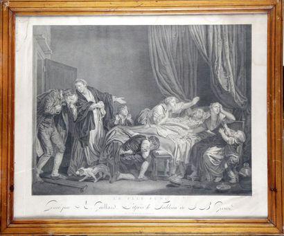 """René GAILLARD 1722-1790, d'après Jean-Baptiste GREUZE. """"La malédiction paternelle""""..."""