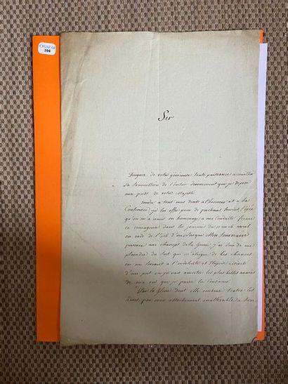 PROTEAU (Guillaume Marcellin). Lettre autographe...