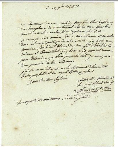 CHAPTAL ( Jean-Antoine). Lettre autographe...