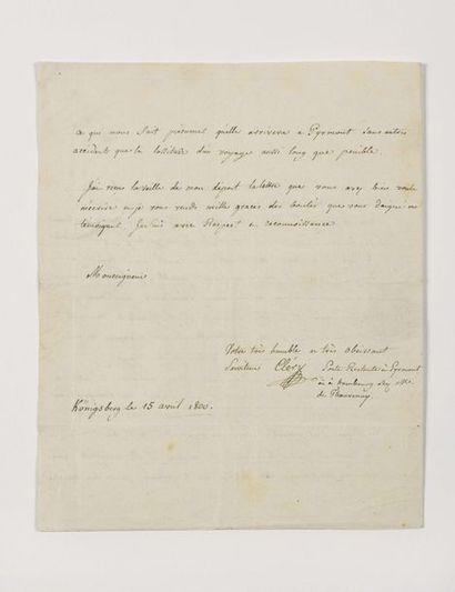CLÉRY ( Jean-Baptiste Cant Hanet de). Lettre...