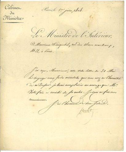 CRETET (Emmanuel). Lettre signée à l'historien...