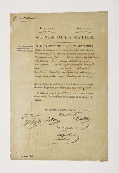 DANTON (Georges Jaqcues). Pièce signée en...