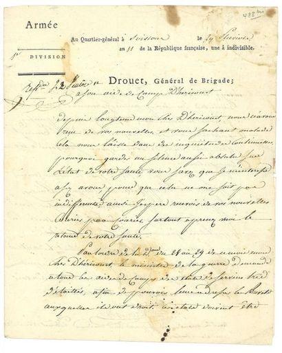 DROUET D'ERLON ( Jean-Baptiste). Lettre...