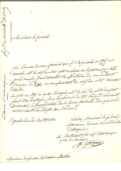 GAZAN (Honoré Théodore Maxime). Lettre signée...