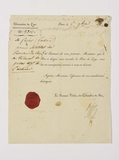 HÜE (François). Lettre signée à Frédéric...