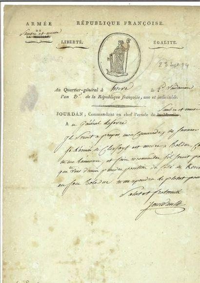JOURDAN ( Jean-Baptiste). Lettre autographe...