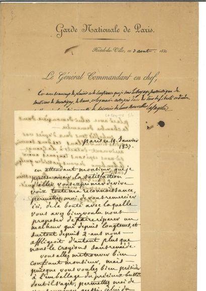 La fayette (Gilbert Du Motier de). Lettre...