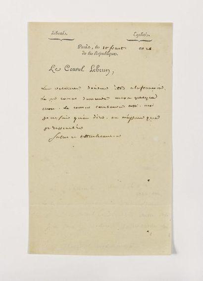 LEBRUN (Charles-François). Lettre autographe...