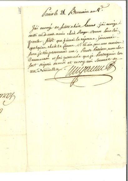 AUGEREAU (Pierre-François-Charles). Lettre...