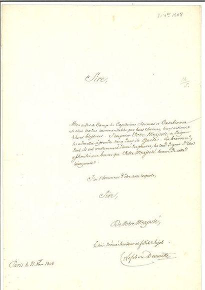 LEFEBVRE-DESNOUETTES (Charles). 2 lettres autographes signées. 1808. – Au maréchal...