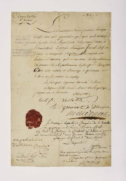 MACDONALD (Étienne). Visa autographe signé...