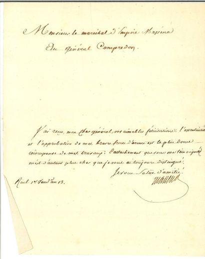 MASSÉNA (André). Lettre signée au général...