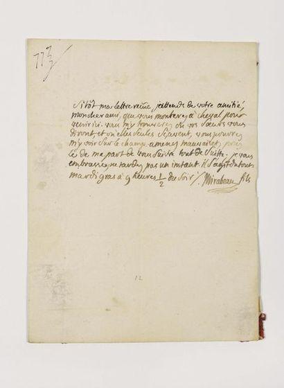 MIRABEAU (Honoré Gabriel Riquetti de). Lettre...
