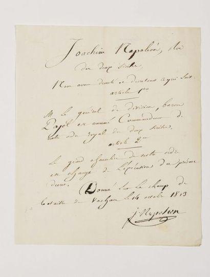 MURAT ( Joachim). Lettre signée « J. Napoléon...